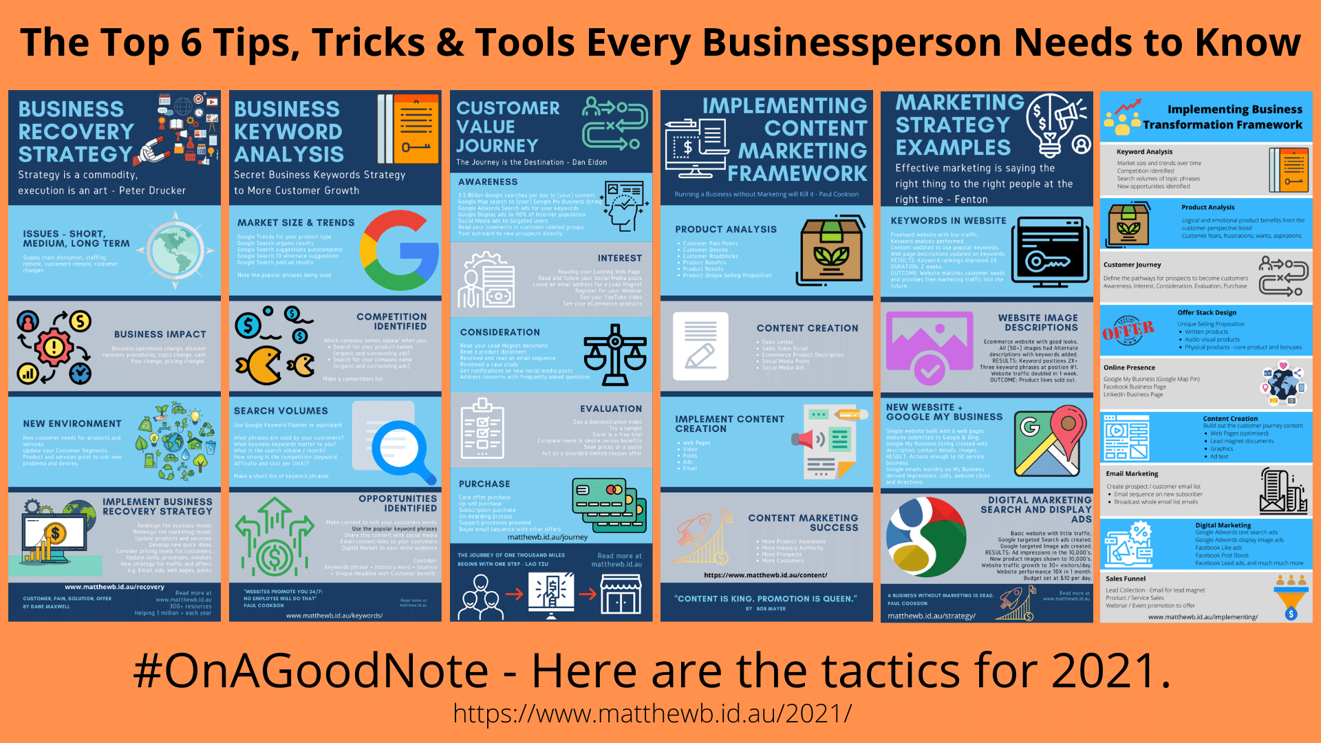 The top 6 tips, tricks and tools for every businessperson needs to know. Tactics for 2021.