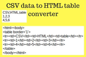 CSV data to HTML table code conversion