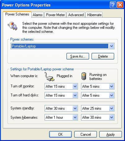 PC Power Management Settings for Efficiency on mains and batteries