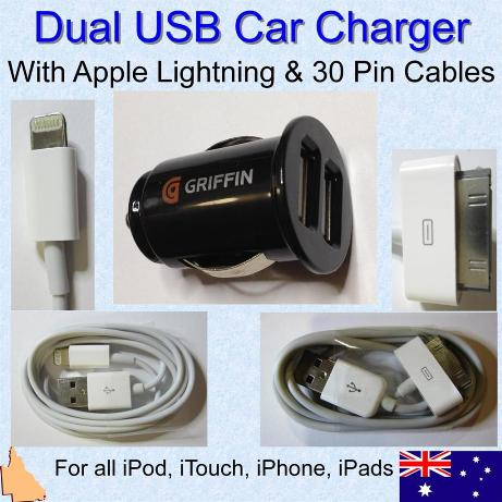 Dual Car Charger with 2 Apple Lightning Charging Cables