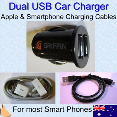 Dual Car Charger with Apple and Micro USB Smartphone Charging Cables