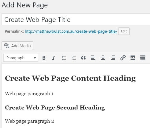 Create Web Page Content